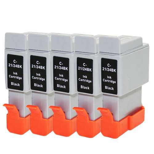 5x cartridge Canon BCI-21BK black černá kompatibilní inkoustová cartridge pro tiskárnu Canon B210C