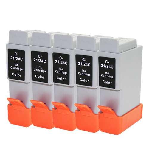 5x cartridge Canon BCI-24C color barevná cartridge kompatibilní inkoustová náplň pro tiskárnu Canon BCI-21/BCI-24