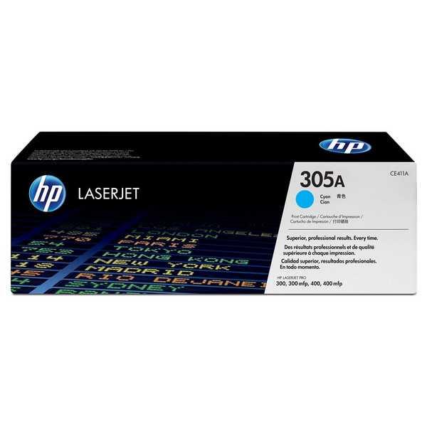 originál HP CE411A (HP 305A) cyan modrý azurový originální toner pro tiskárnu HP LaserJet Pro 400 M475dw