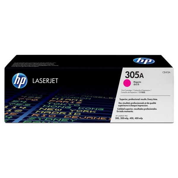 originál HP CE413A (HP 305A) magenta purpurový červený originální toner pro tiskárnu HP LaserJet Pro 400 M475dw