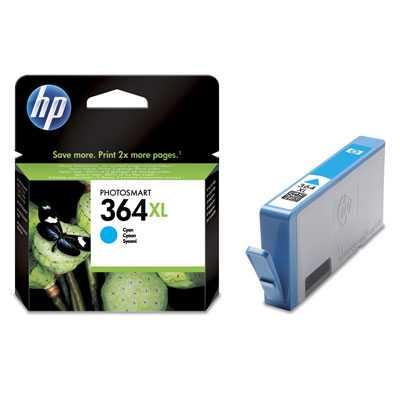 originál HP 364XL-C (CB323EE) cyan azurová originální cartridge pro tiskárnu HP HP Photosmart Premium Plus