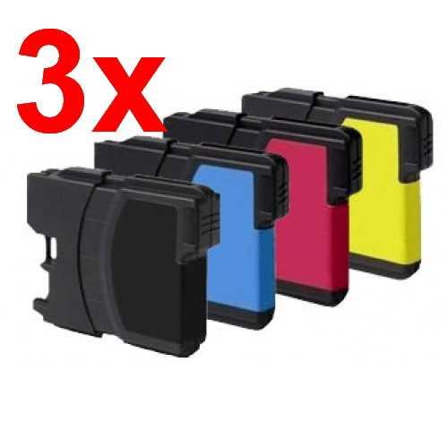 3x sada Brother LC980/LC1100 cartridge kompatibilní inkoustová náplň pro tiskárnu Brother Brother LC-980/LC-1100