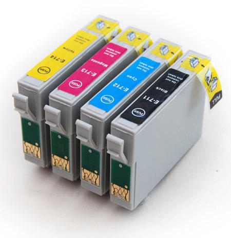 7x sada Epson T0715 (T0711-T0714) - 4 kusy kompatibilní cartridge pro tiskárnu Epson Stylus DX7450