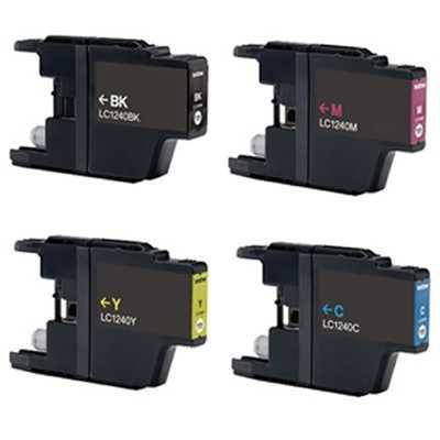 6x sada Brother LC-1240 (LC-1240BK, LC-1240C, LC-1240M, LC-1240Y) 4x kompatibilní inkoustová cartridge pro tiskárnu Brother