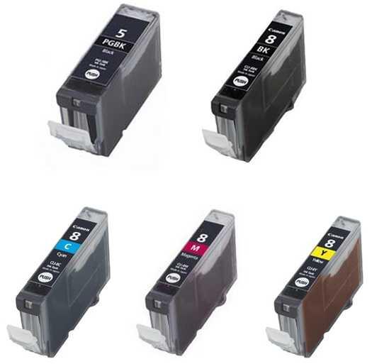 Sada Canon PGI-5Bk CLI-8 BK,C,M,Y kompatibilní - 5 kusů inkoustových kazet s čipem pro tiskárnu Canon PIXMA IP4500X