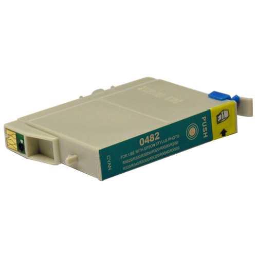 Epson T0482 cyan azurová cartridge, modrá kompatibilní inkoustová náplň pro tiskárnu Epson T0481/T0487
