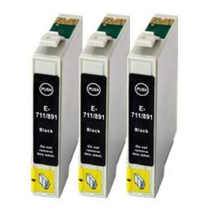 sada Epson 3x T0711 - 3 kusy black cartridge černé kompatibilní inkoustové náplně pro tiskárnu Epson Stylus DX7450