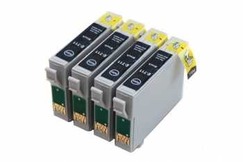 sada Epson 4x T0711 - 4 kusy black cartridge černé kompatibilní inkoustové náplně pro tiskárnu Epson Stylus DX7450