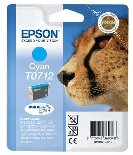 originál Epson T0712 cartridge cyan modrá originální inkoustová náplň pro tiskárnu Epson Stylus DX7450