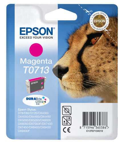 originál Epson T0713 cartridge magenta purpurová originální inkoustová náplň pro tiskárnu Epson Stylus DX7450