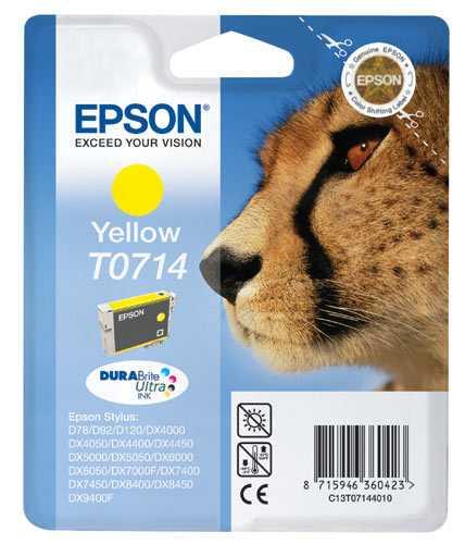 originál Epson T0714 cartridge yellow žlutá originální inkoustová náplň pro tiskárnu Epson Stylus DX7450