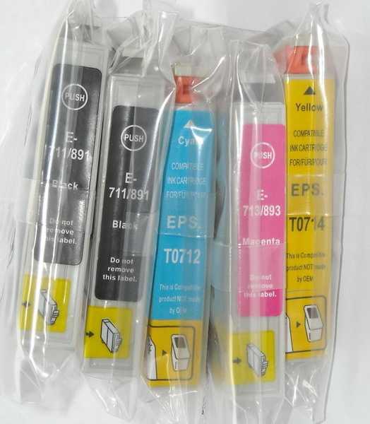 sada Epson T0715 (T0711-T0714) - 5 kusů kompatibilní náplně - inkousty pro tiskárnu Epson Stylus DX7450