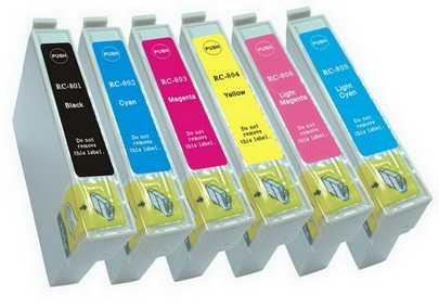 sada Epson T0807 (T0801, T0802, T0803, T0804, T0805, T0806) kompatibilní cartridge, inkoust pro tiskárnu Epson Stylus Photo PX830FWD